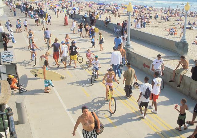 The busy Boardwalk at Mission Beach. Photo: Brett Shoaf