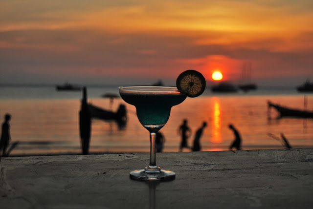 Coconut cocktails at sunset in Mauritius