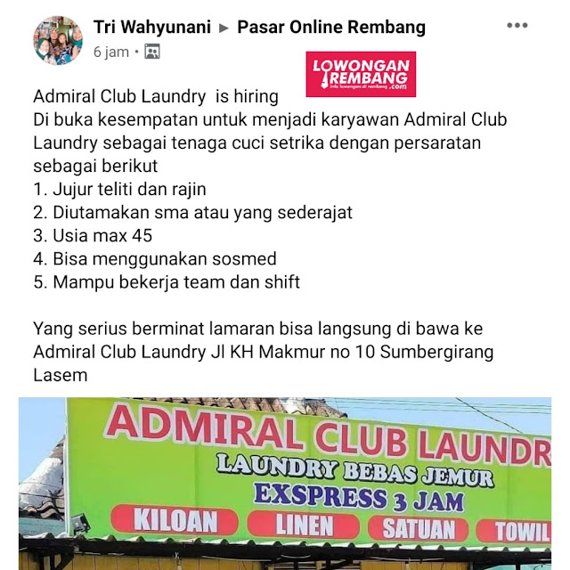 Lowongan Kerja Pegawai Admiral Club Laundry Lasem Rembang