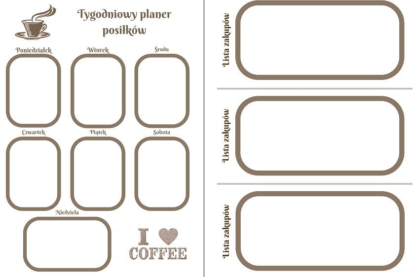 listy zakupowe do druku kawa