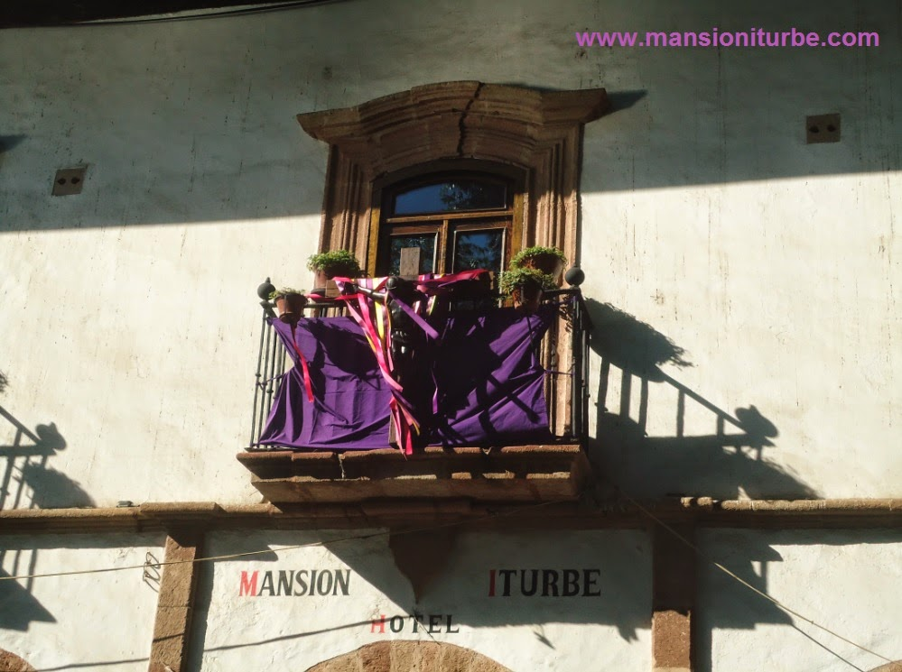 Balconies decorated during the Holy Week in Patzcuaro
