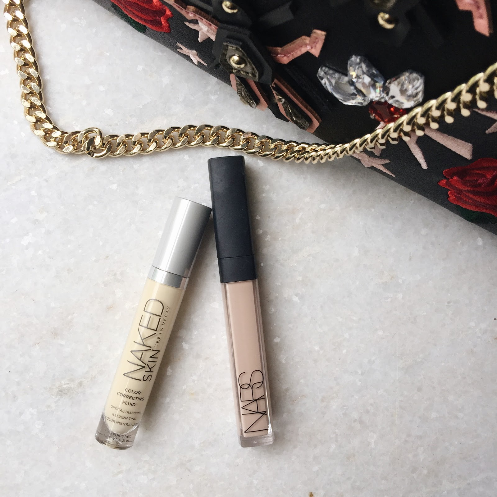 Products that cover dark circles | Urban Decay color corrector and NARS radiant creamy concealer