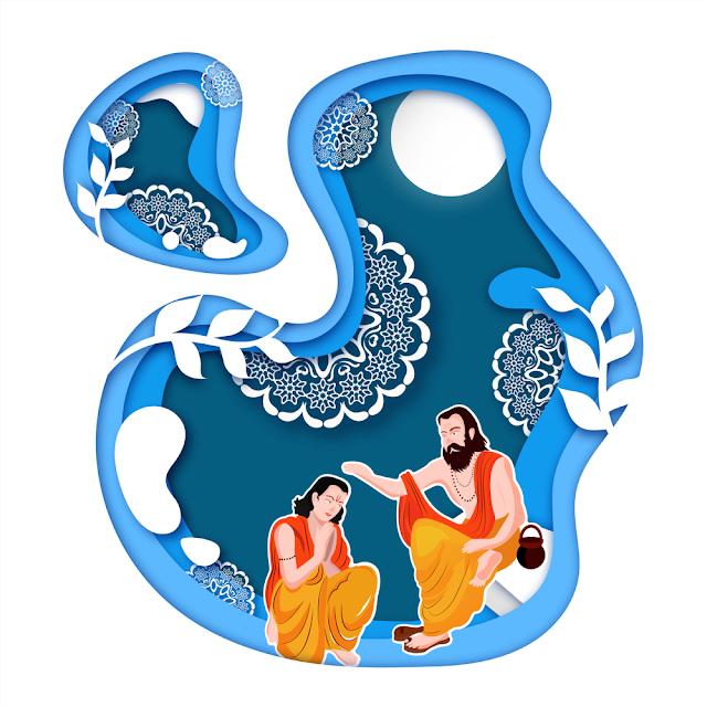 guru purnima card design paper cutout