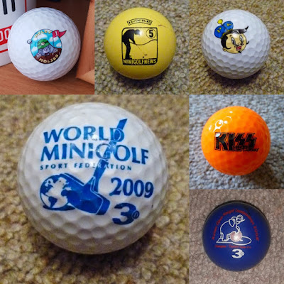 Clockwise from top left, balls from Holeymolies, Minigolfnews, the Putter King, KISS Minigolf, the Asian Open Championships and the World Minigolf Sport Federation