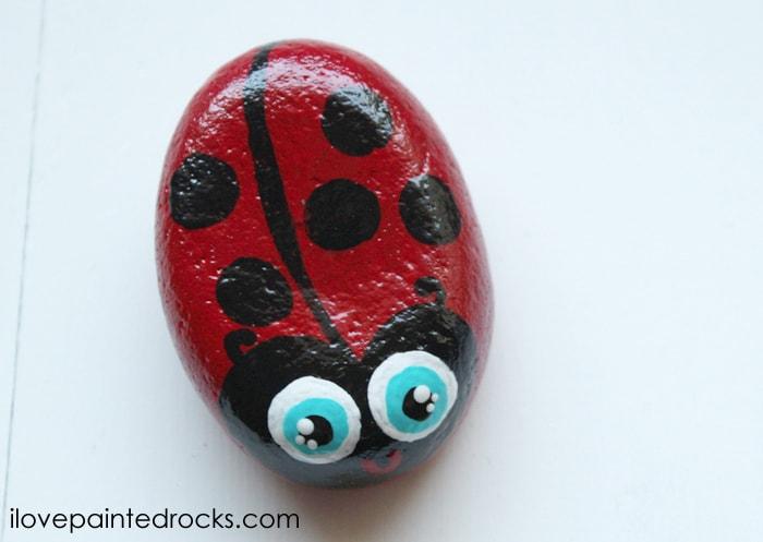 glossy ladybug painted rock