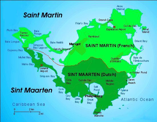 Mapas das Ilhas Saint Martin/Sint Maarten | França/Holanda