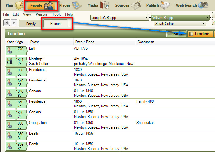 family tree maker user ftm2012 use of timeline feature