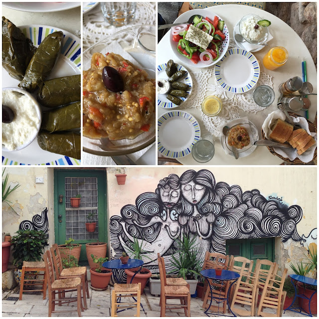 Greek delicacies and street art at Klepsidra Café in Plaka in Athens