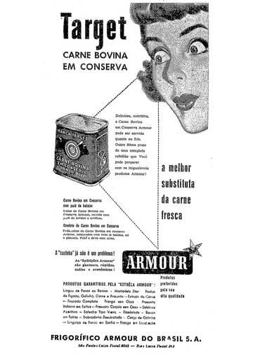 Propaganda dos anos 50 da carne bovina em conserva dos Frigorífico Armour.