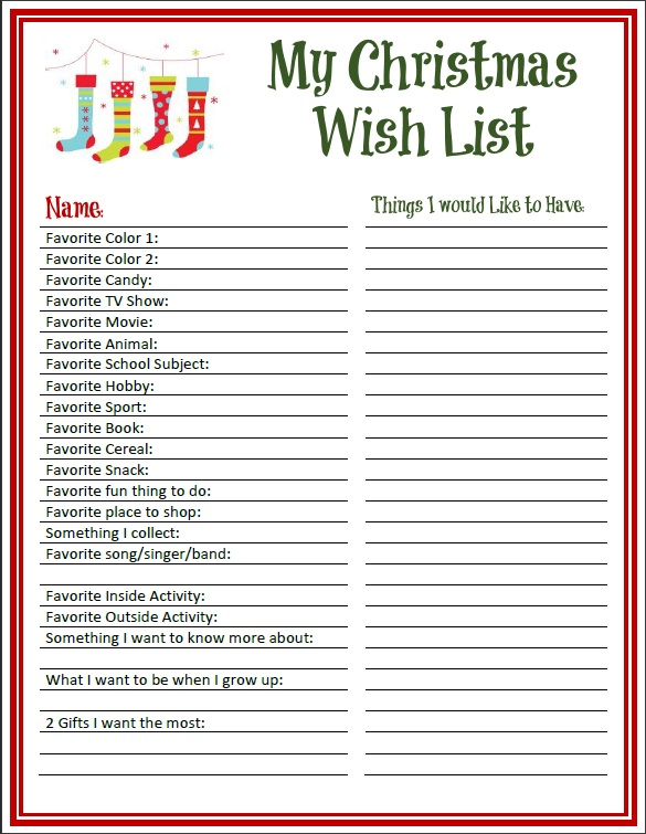 Printable Christmas Wish List For Kids.Becky S Free Printables Christmas Printables