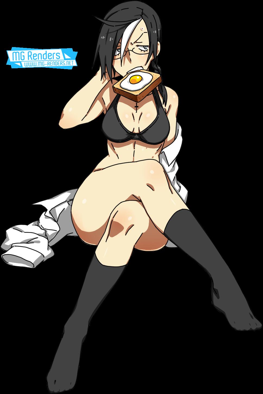 Tags: Anime, Render,  Black Hood,  Bra,  Braid,  Cross-Over,  Feet,  Full body,  Kamezaemon,  PNG, Image, Picture