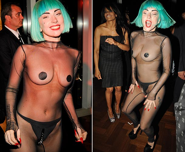 Lady Gaga see though onesie nipples