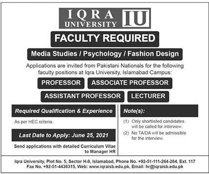Iqra University Islamabad Jobs 2021 For Teaching Staff  - IU Jobs 2021 Latest Vacancies