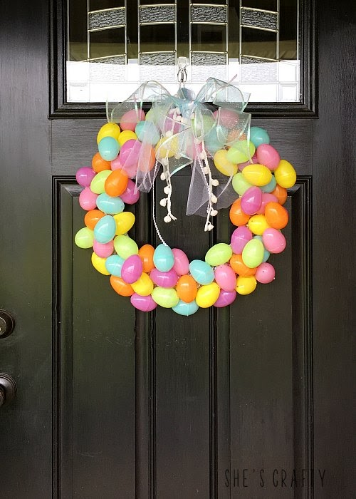 Pastel Egg Easter Wreath made from plastic easter eggs
