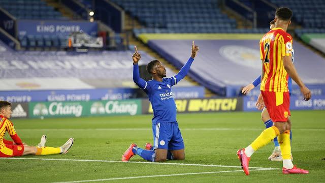 Leicester city forward Kelechi Iheanacho celebration