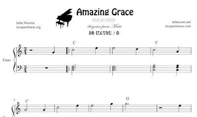 Amazing Grace de John Newton Partitura Fáciles de Piano en Do Mayor, FaM y SolM