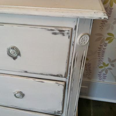 Subtle floral detail on white chalk painted look dresser at 2013 Coastal Living Showhouse at Daniel Island, SC | The Lowcountry Lady