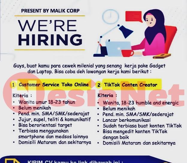 Lowongan Kerja Malik Corp Mataram Lombok NTB