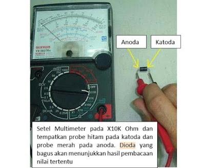 Cara Mengukur dan Menguji Komponen Dioda penyearah dengan avo analog