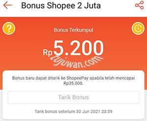 Bonus awal Rp 5.000,- di event program shopee bonus 2 juta