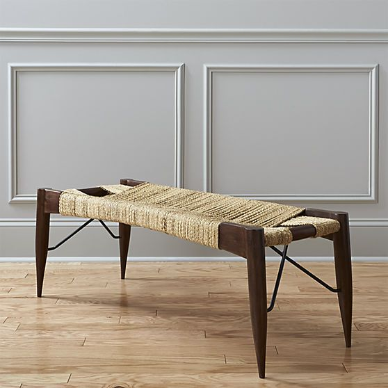 Mid-century modern style rope bench