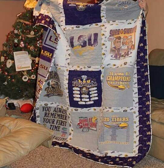 LSU fleece backed t-shirt quilt