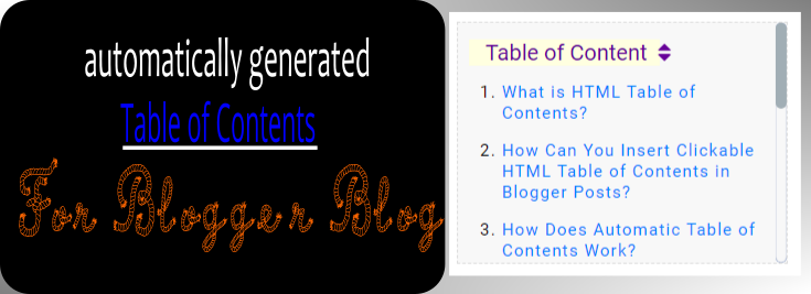 html automatic table of contents blogger blog