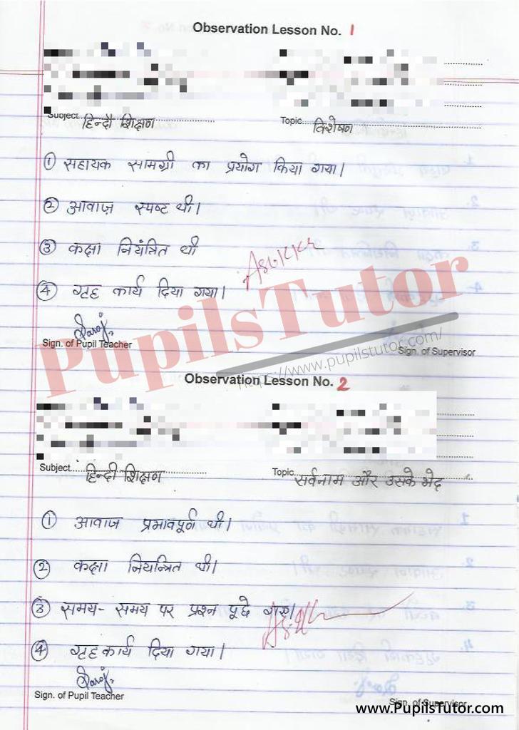 Hindi Vyakran Observation Lesson Plan on Visheshan and Sarvnam or Sarvnam ke Bhed for class 6 and 7 b.ed