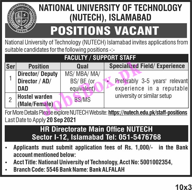 https://nutech.edu.pk/staff-positions - NUTECH National University of Technology Islamabad Jobs 2021 in Pakistan
