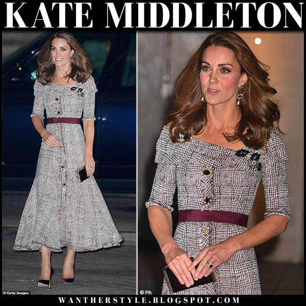 Kate Middleton in checked off shoulder midi erdem dress and burgundy velvet pumps jimmy choo romy royal family style october 10