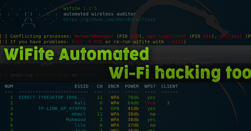 WiFite Automated WiFi hacking tool - KaliTut