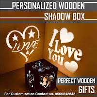 Customised Wooden 5 X 5 X 5 inches LED Fitted Shadow Box Having All Personalised Options