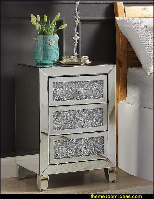 Mirrored Nightstand, Modern Crystal Dimond End Table Mirror Accent Silver Table