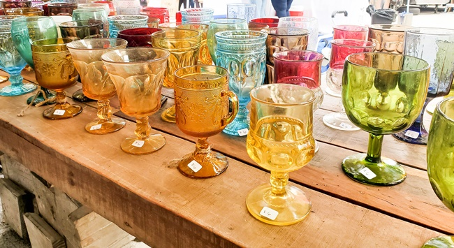 vintage colorful glassware at vintage market days st louis