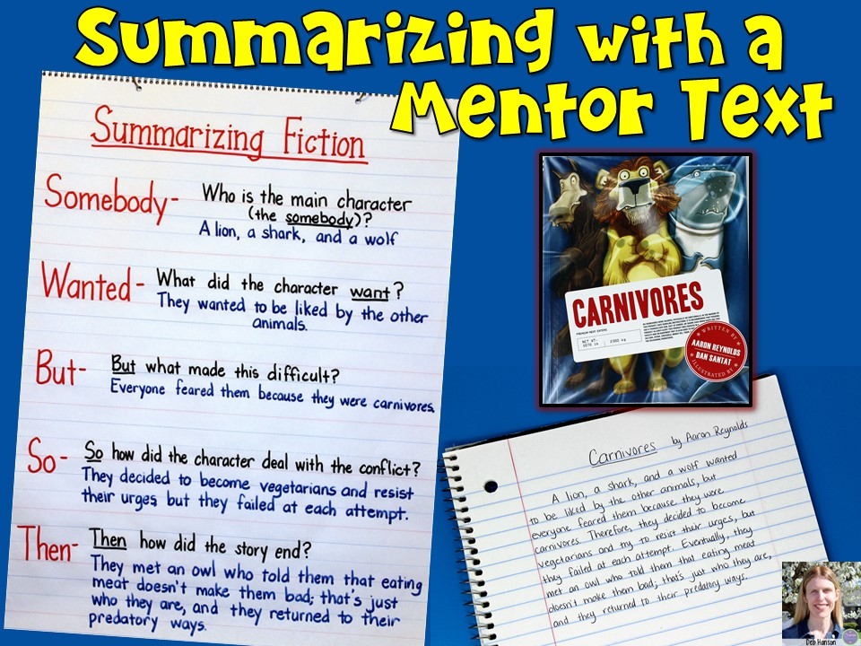 "Writing a summary is simple when you use the ""Somebody Wanted But So Then"" summarizing strategy. This blog post contains a summarizing fiction anchor chart and a mentor text lesson idea!"