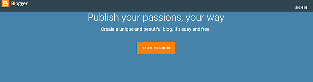 The home page of www.blogger.com, it shows quick link to create your blog