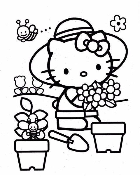 Tranh tô màu mèo hello kitty trồng cây