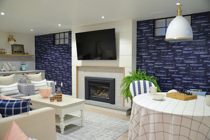 basement remodel, coastal basement, white basement, basement games table