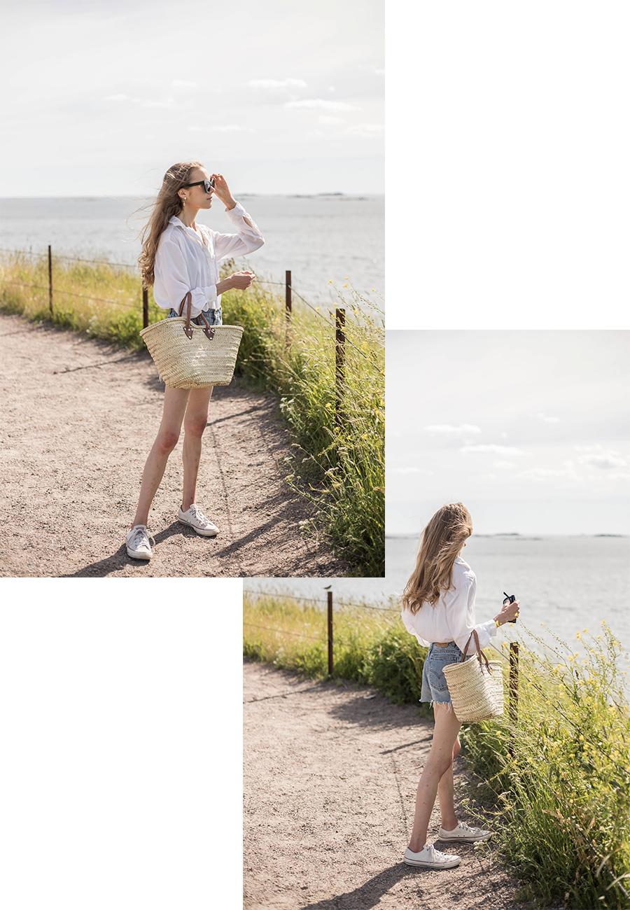 Kesän pukeutuminen: valkoinen paita ja farkkushortsit // Summer outfit inspiration: white shirt and denim shorts