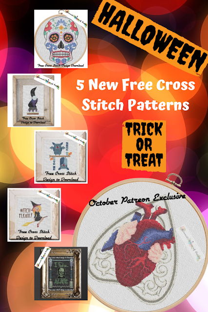 Five free halloween cross stitch patterns being released all next week to download