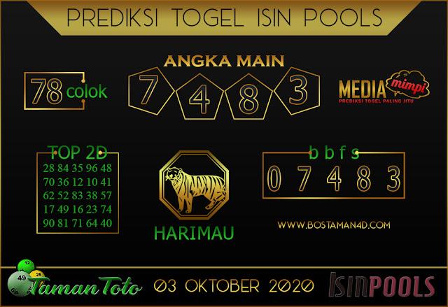 Prediksi Togel ISIN TAMAN TOTO 03 OKTOBER 2020