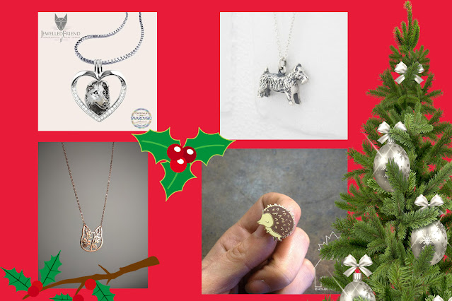 Artisan gift guide for pet lovers. Pictured: Australian Shepherd necklace, Monopoly dog necklace, Hedgehog lapel pin, floral cat necklace in gold