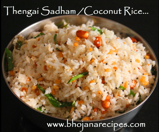 Coconut rice thengai sadham bhojana recipes coconut rice thengai sadham is the popular and traditional rice variety of tamil nadu a very quick recipe that could make lunch sumptuous with pappad and ccuart Image collections