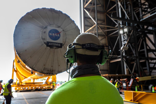 The SLS core stage booster for Artemis 1 is transported into the Vehicle Assembly Building at NASA's Kennedy Space Center in Florida...on April 29, 2021.