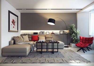 Gray L-shaped living room with sectional and a pair of black coffee table for furniture