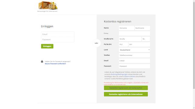Screenshot:  Login-Page Liquidado.de | Hinweis für Verbraucher | Stand 24.11.2016