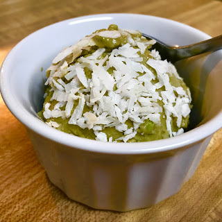 avocado ice cream with coconut shavings