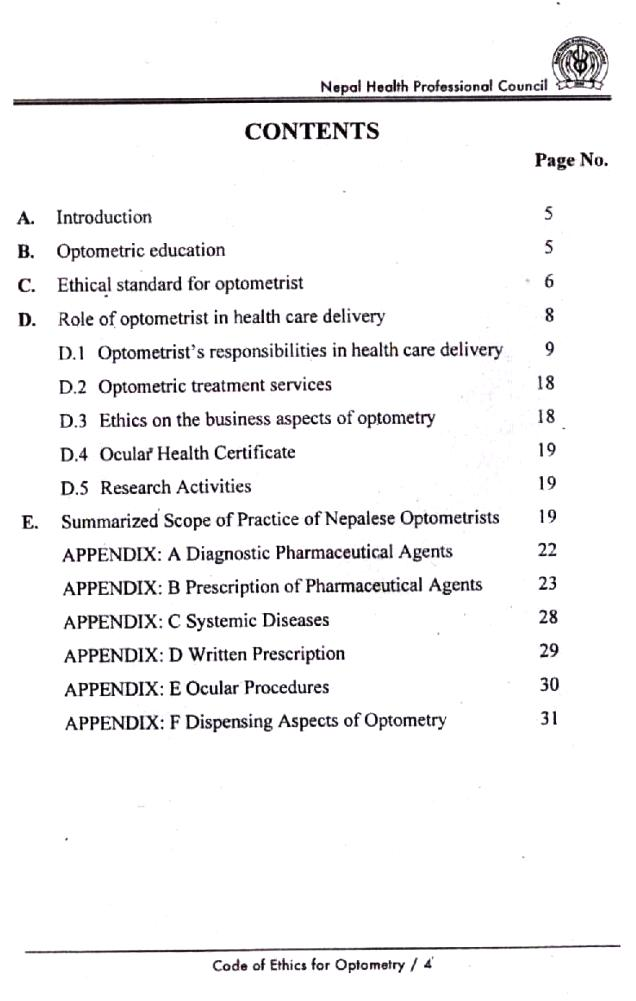 Code of Ethics for Bachelor of Optometry
