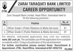 Zarai Taraqiati Bank Limited ZTBL Latest Jobs in Pakistan - Download Job Application Form - www.ztbl.com.pk