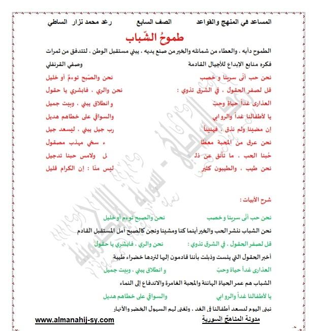 حل وشرح قصيدة طموح الشباب لغة عربية للصف السابع الفصل الاول